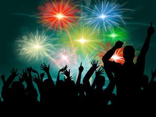 Dancing Disco Represents Fireworks Display And Celebrate