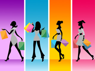 Women Shopping Shows Retail Sales And Adult