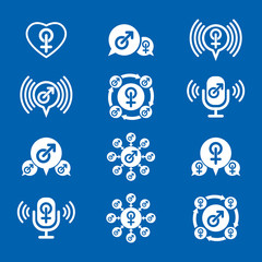 Male gender creative and unusual icons set, vector symbols colle
