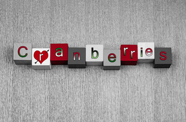 Love for cranberries, sign series for fruit & healthy eating.