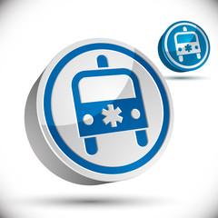 Ambulance emergency 3d car icon.