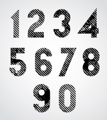Black spotted numbers with diagonal lines.