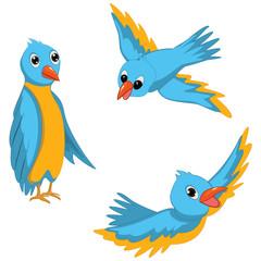 Blue Birds Vector Illustrations Set