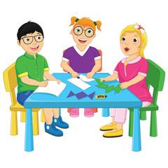 Kids Working On Table Vector Illustration