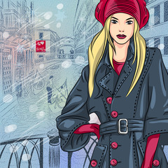 vector winter Christmas cityscape with the Bridge of Sighs in Ve