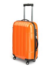 Luggage, Orange suitcase on white isolated background.