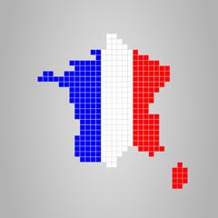 France Pixel Map Flag