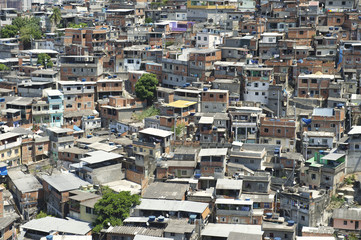 Crowded Brazilian Hillside Favela Shanty Town Rio Brazil