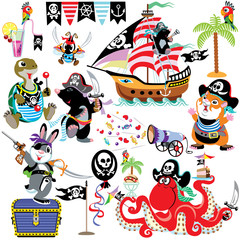 cartoon set with pirates