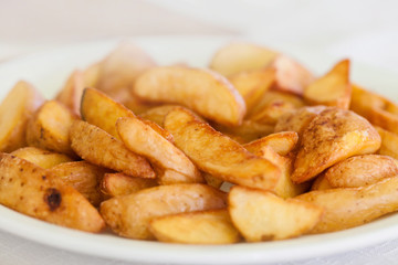 Closeup of a pile of bulgarian potato fries