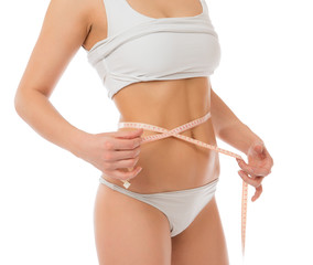 Dietting weight loss concept measuring waist w