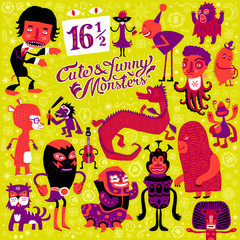 Vector set of sixteen and a half cute and funny monsters.