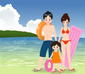 3人家族 海水浴
