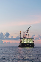 barge rig platform of oil and gas industry in ocean after explor