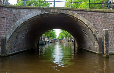 Wall Mural - Amsterdam - Romantic bridge over canal in old town