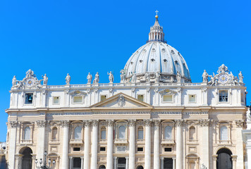 facade of Basilica of Saint Peter, in Vatican City, Italy