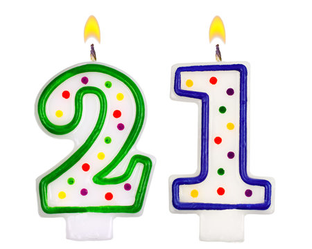 Birthday candles number twenty one isolated on white background