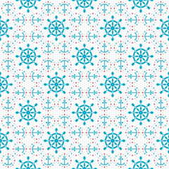 Seamless sea pattern with anchors, hand wheels