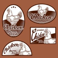 Chicken vintage labels