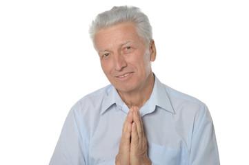 Senior man askng