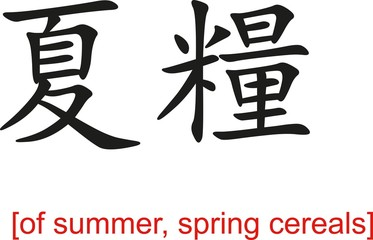 Chinese Sign for of summer, spring cereals