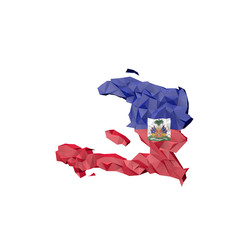 Low Poly Haiti Map with National Flag