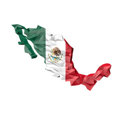 Low Poly Mexico Map with National Flag