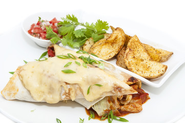 Mexican food restaurant on a white dish