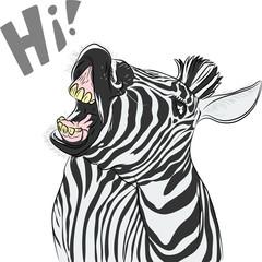 Vector funny cartoon zebra yells something