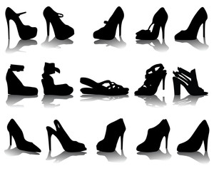 Black silhouettes and shadows of shoes, vector