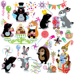 cartoon set with birthday party