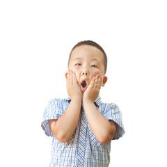 emotional Asian boy 6 years old, isolated on white background