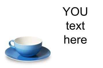 cup for coffee on white background. With place for text