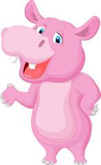 Funny cartoon hippo waving