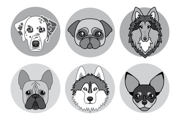 black and white icons of different breeds of dogs