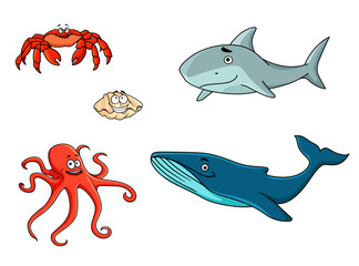 Set of marine sea life animals
