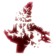 A pool of blood (or wine) that formed the shape of Nunavut. (ser