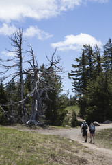 Two Hikers along the Rim of Crater Lake