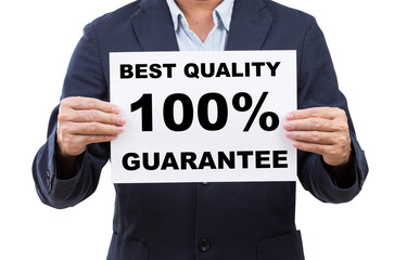 Business man hand holding paper  with best quality 100% guarante