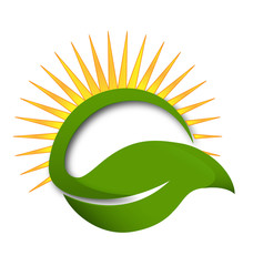 Sun green leaf wellness concept logo vector