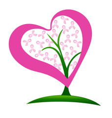 Tree heart breast cancer ribbons logo vector