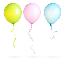 Balloons with ribbon isolated