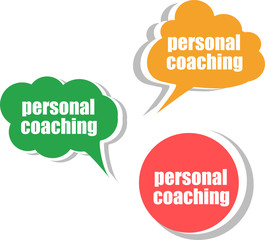 personal coaching, Set of stickers, labels, tags. Template