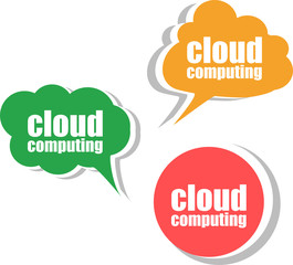 cloud computing. Set of stickers, labels, tags. Template