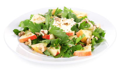 Green salad with apples, walnuts and cheese isolated on white