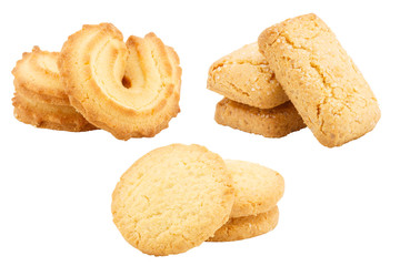 Poster Koekjes Set of butter cookies isolated on white background