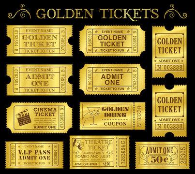 Golden Vector Ticket Templates