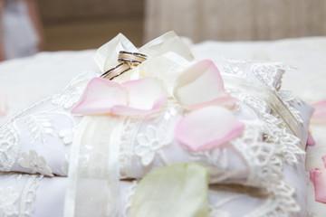Wedding ring on wedding decoration