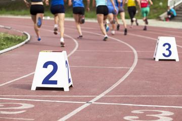 Female athletes racing