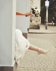 Gorgeous caucasian bride in beautiful dress